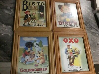 4 Vintage Advertising Reproduction Framed Posters in Pine Frames Wall Art