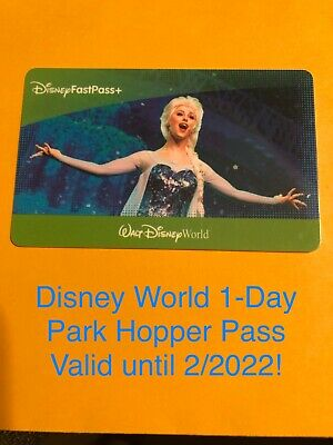 One (1) Day Park Hopper Ticket/Pass - Valid At Walt Disney World Exp. 2/2022!