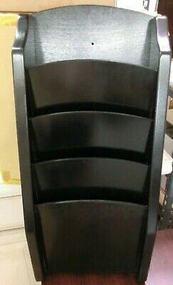 "Vintage Wood Wall Mount 4 Pocket Magazine Rack Office Display Black 25""x11"" Used"