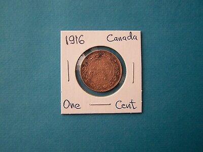 Canada Coins 1916 Year One Cent Nice Copper Coin.