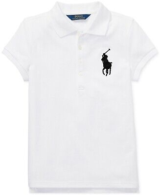 Polo Ralph Lauren Toddler Girls Big Pony Stretch-Mesh Polo Shirt White Sz M 8-10