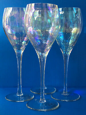 HAND BLOWN Iridescent CRYSTAL TOSCANY Romania Wine Set 4 Glasses 81/2inche tall