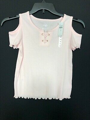 Justice New $17 Cold Shoulder Ribbed Tee Shirt Girls Sz 12 Years Casual Knit Top