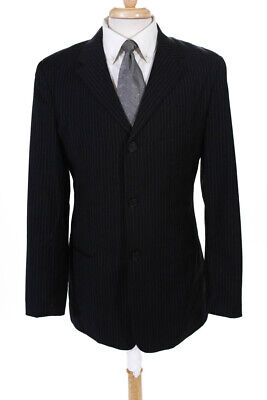 Emporio Armani Mens Two Button Notched Lapel Blazer Blue Wool Pinstripes Size 42