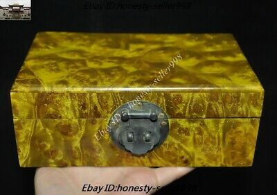 "8"" Old Chinese Dynasty Gold-rimmed nanmu Wood Carved jewellery Jewelry Box Boxes"