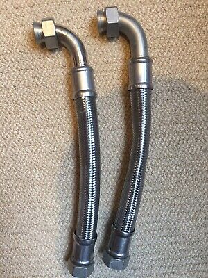 Water Softener Hoses (pair) High Quality Stainless Steel 28mm / 300mm long