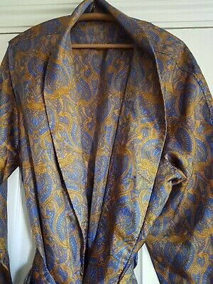 Vintage silky satin robe dressing gown smoking jacket L/XL