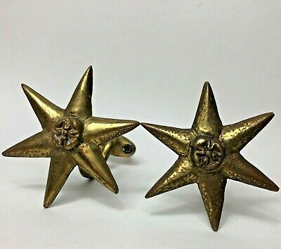 Vintage Antique Brass Star Curtain Rod Bracket Holders Pair 3 1/4""