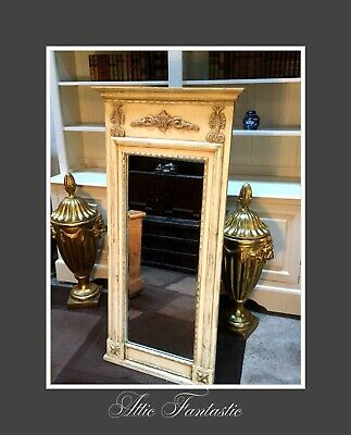 Solid Wood French Chateau Style Antique White Carved Large Tall Mirror VGC