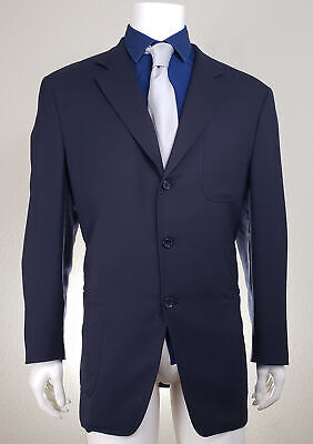 Canali Proposta Made in Italy Mens 3 Button Suit Jacket Sport Coat Blue Wool 52R