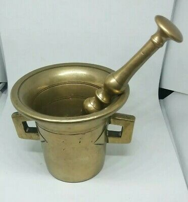 Vintage Antique High Quality Solid Brass Pestle And Mortar Pharmacy Apothecary