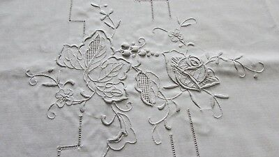 Antique Banquet Embroidered Openwork Madiera 136 x 70 Tablecloth