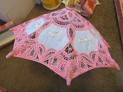 Doll Lace and Embroidered Parasol, Apollo Embroidery Technology Sun Umbrella