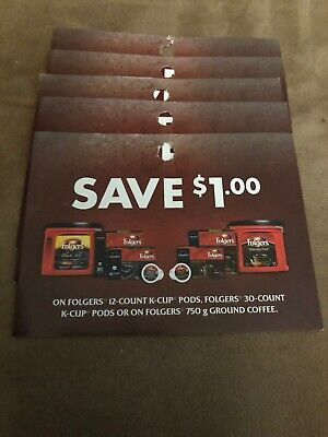 5 Coupons X Save $1.00 on Folgers Coffee Products (k-cup Pods Or Ground Coffee)