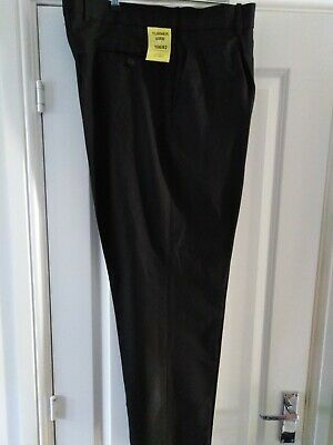 Henbury Black Single Pleat Polyester Trousers work prison security police