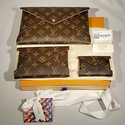 New Louis Vuitton Kirigami Pochette Monogram Envelope Pouch M62034 Full Set of 3