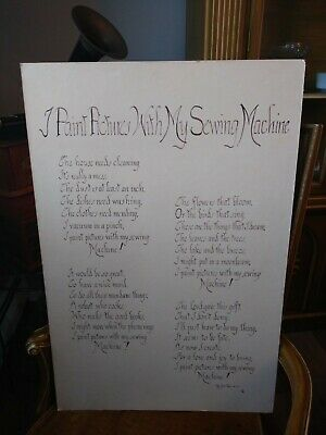 "Vintage Sewing Machine Poem Poster ""I Paint Pictures With My Sewing Machine"""