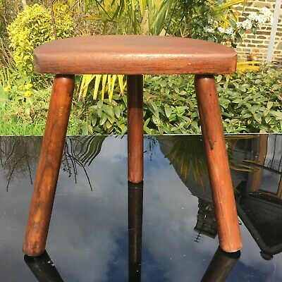 OAK Milking Stool 3 STRAIGHT LEGS HALF MOON Charming VINTAGE FRENCH NORMAN STYLE