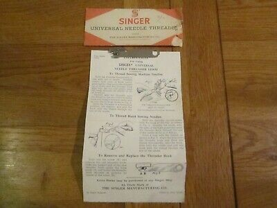 Vintage Singer Universal  sewing machine Needle Threader 121632 instruction case