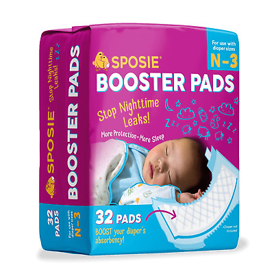 Sposie Booster Pads Overnight Diaper Doublers, 32 Pads, Size Newborn - 3 months
