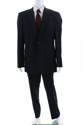 Charles Clayton Mens Two Button Notched Lapel Pleated Suit Blue Wool 42 Long