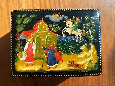 """VINTAGE RUSSIAN LACQUER BOX PALEKH HAND PAINTED ARTIST SIGNED 1997 """"Snow White?"""""""