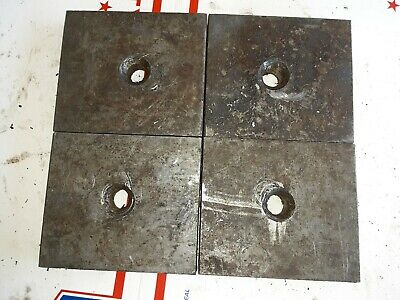 "4 PC. STEEL FLAT BAR STOCK tool die machine plate 4"" x 3.5"" x 1/2"" w/center hole"