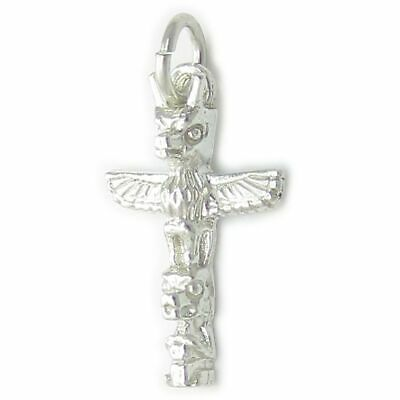 Sterling Silver 3D Indian Eskimo says Totem Pole Charm