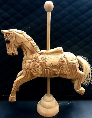 Vintage Hand Carved Hand Painted Wood Carousel Horse 11x8in