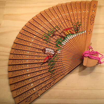 """ASIAN SILHOUETTE """"Brown"""" Beautiful Ornate Handheld Fan Traditional Accessory"""