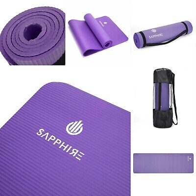 Yoga Mat for Pilates Gym Exercise With Carry Strap 10mm Thick NBR Foam - Purple