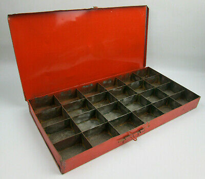 "Vintage 24 Compartment Lidded Metal Storage Box 15 1/4"" x 7 3/4"" x 1 1/2"""