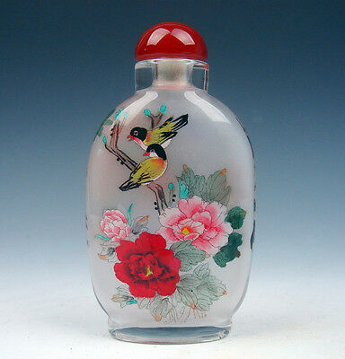 Peking Glass Inside Reverse Hand Painted LARGE Snuff Bottle Birds & Flowers