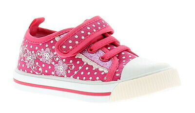 Chatterbox Natalie Girls Kids Canvas Shoes Pumps Trainers Pink/White UK Size