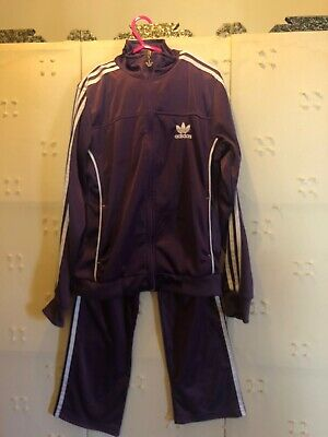Girls Adidas Purple/white Track Suit Uk 42/44