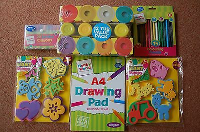 12 x tubs Playdoh 100 A4 Pad 20 Jumbo Crayons 15 colouring pencils Paint Stamps