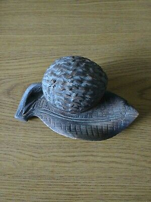 Antique German Black Forest wooden Inkwell depicting a walnut on a leaf