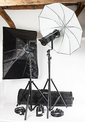 Bowens Esprit Gemini GM500. Two Head Flash Outfit, Stands, Softbox, Brolly, Case