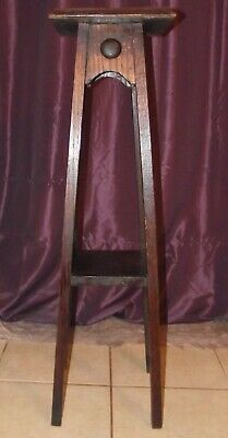 Arts & Crafts Oak Torchere /Jardiniere/Stand With Ruskin Roundels.