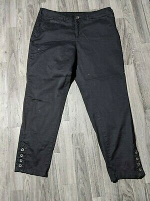 Style & Co Womens Size 12 Stretchy Button Cuffs Crop Black Dress Pants Trousers