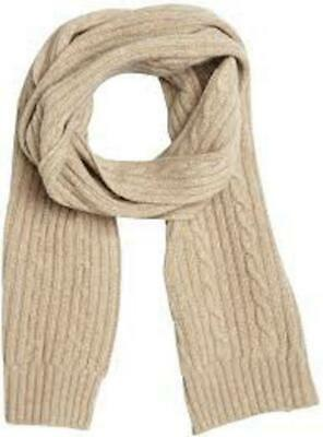 NWT PORTOLANO Beige 100% Cashmere Cable Knit Long Scarf $230
