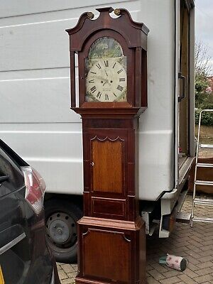 Antique Mahogany Longcase Grandfather Clock 8 Day Painted Dial