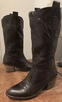 Zara TRF Chocolate Brown Leather Calf Length Western Cowboy Boots Size 36