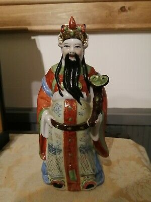 "Vintage Chinese 8"" Old Wise Man Sage With Scroll Ceramic Hand Painted Figurine"