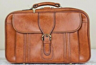 Vintage Carry-On Suitcase Brown Leather Soft Shell Travel Bag Lock With Keys