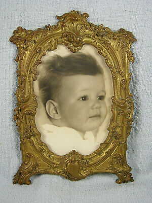 French Victorian Ornate Heavy Metal Frame - Baby's Portrait