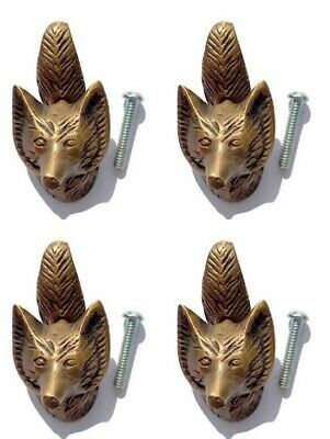 4 small FOX old heavy front cupbard knobs SOLID BRASS vintage antique style B