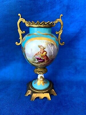 Antique French Sevres Miniature Urn With Bronze Finial