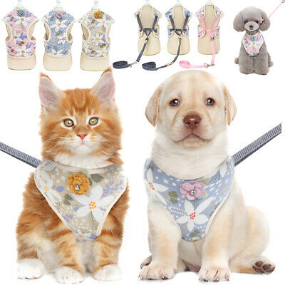 Pet Dog Floral Breathable Harnesses Puppy Cat Vest With Adjustable Lead Leash UK