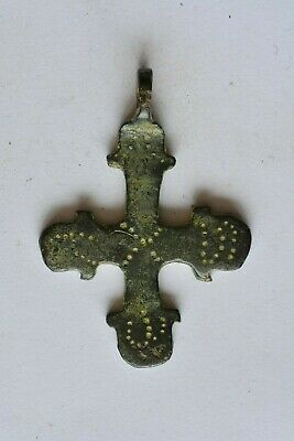 Early Byzantine bronze cross dots inscription 5th century AD